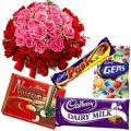 Silky Cadburys Chocs Dessert and 50 Pink and Red Roses Collection to Garia