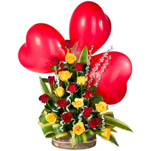 Stimulating 20 Roses Assemblage with 3 Red Heart Balloons to Garia