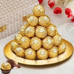 Daintily Arranged Ferrero Rocher Chocolates in a Golden Plated Thali to Koch bihar