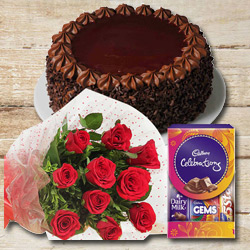 Everlasting Memory Flower, Cake and Chocolate Assortment to Nadia