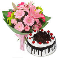 Enchanting a Dozen of Mixed Flower Bunch with Black Forest Cake to Burdwan