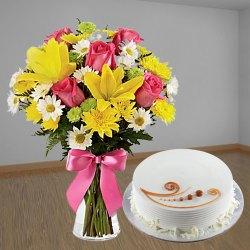 Enchanting Mixed Flowers Bunch with Vanilla Cake to Dumdum