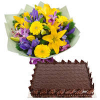 Garnished Chocos Cake with Mixed Flower Hand Bunch to South 24 parganas