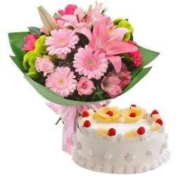 Yummy Pineapple Flavor Cake with Twelve Mixed Flowers Bunch to Birbhum