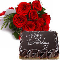 Pristine Bouquet of Red Roses with Eggless Chocos Cake to Darjiling