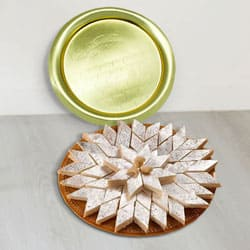 Lip-Smacking Kaju Katli from Haldiram with Golden Plated Thali to Lake town