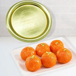 Lovely Pure Ghee Laddu from Haldiram with Golden Plated Thali to Darjiling