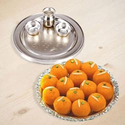 Silver Plated Thali with Motichur Laddu from Haldiram to Howrah