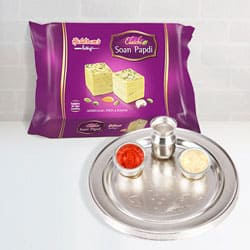 Silver Plated Thali with Soan Papdi from Haldiram to North 24 parganas