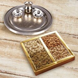 Silver Plated Puja Thali with Assorted Dry Fruits to Behala