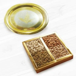 Golden Plated Thali with Assorted Dry Fruits to Maldah