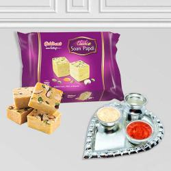 Silver Plated Paan Shaped Puja Aarti Thali (weight 52 gms) with Soan Papdi from Haldiram to Uttar dinajpur