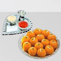 Silver Plated Paan Shaped Puja Aarti Thali (weight 52 gms) with Motichur Laddu from Haldiram to Bakura