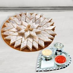 Silver Plated Paan Shaped Puja Aarti Thali (weight 52 gms) with Haldiram Kaju Katli to Dakshin dinajpur