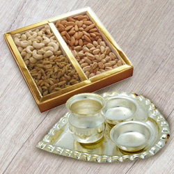 Silver Plated Paan Shaped Puja Aarti Thali (weight 52 gms) with Assorted Dry Fruits to Salt lake