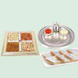 Special Silver Plated Puja Thali with Assorted Dry fruits with Haldiram Kaju Katli to Behala