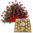 Outstanding gathering of Red Roses and delightful Ferrero Rocher to Nadia