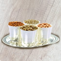 Crunchy mixed Dry Fruits with Silver  Glasses and Tray to Jalpaiguri