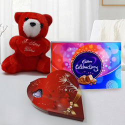 Celebrate Love Hamper with Chocolates and Teddy to Garia