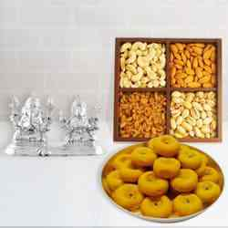 Beautiful Silver Plated Ganesh Lakshmi with Sweets and Dry Fruits to Puruliya