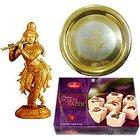 Intricate Krishna made of Sandalwood and Sweets Hamper to Siliguri