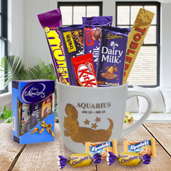 Sensational Chocolates and Mug with Aquarius Astrological Sign Print Gift Set to South 24 parganas