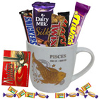Tempting Chocolates and Pisces Zodiac Sign Printed Mug Gift Combo to Lake town