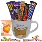 Attractive Mug with Taurus Sun Sign Print along with Tasty Chocolates Gift Collection to Madhyamgram