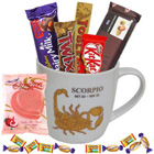 Fantastic Scorpio Sun Sign Printed Mug with Chocolate Assortment to Darjiling