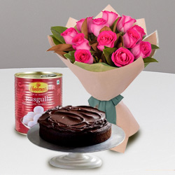 Luxurious 12 Red Roses and Haldiram Rasgulla with 1 Kg Eggless Cake to Behala