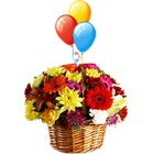 Festive Beautiful Flowers and Bright Balloons with Warm Wishes to Howrah