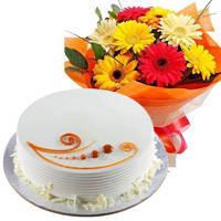 Indulgent Congregate of Flowers and Cake to Birbhum