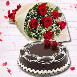 Sassy Red Rose Verse and Chocolate Cake to Howrah