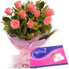 Trendy Pink Roses Hand Bunch with Cadbury Assortment to Garia