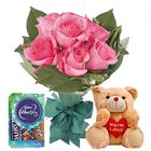 Frenzy Pink Rose Hand Bunch, Small Teddy and Mini Cadbury Celebration to Garia
