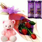 Fancy Small Teddy, Roses and Dairy Milk Silk Chocolate Bars to Madhyamgram