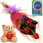 Vibrant Red Rose Array, Cute Teddy and Cadbury Assortment Mini Pack to North 24 parganas