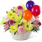 Enchanted Love Mixed Flowers Arrangement in Basket with Colorful Balloons to Howrah