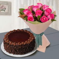 Exquisite 12 Red Roses with 1/2 Kg Chocolate Cake to Lake town