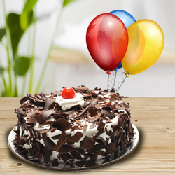 First-Class Black Forest Cake with Balloons to Garia