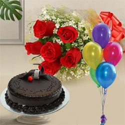 Unique Gift Idea of Chocolate Cake and Red Roses with Balloons to Garia