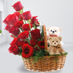 Eye-Catching Red Roses and Twin Teddy Arrangement to Koch bihar