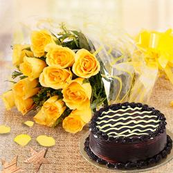 Yellow Roses with Chocolate Cake to Behala