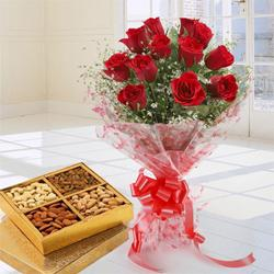 Graceful Treat of Dry Fruits and 12 Red Roses Bouquet to Dakshin dinajpur