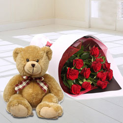 Red Rose Bouquet with Teddy Bear to Howrah