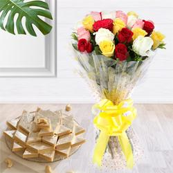 Special 1 Kg. Kaju Barfi Sweets and Bouquet of 2 Dozen Mixed Roses to Maldah