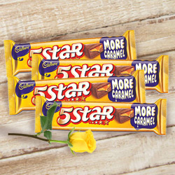 Cadburys 5 Star with One Yellow Rose to Dumdum