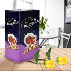 Cadburys Chocolate Shots with Two Yellow Rose to Dumdum