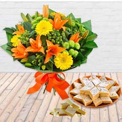 Charming Seasonal Flowers Bouquet and Kaju Barfi with Sweetness to Garia