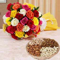 Delightful Two Dozen Splashy Roses and 1 Kg. Dried Fruits Delights to Hooghly